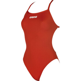 arena Solid Light Tech High One Piece Swimsuit Dames, red-white
